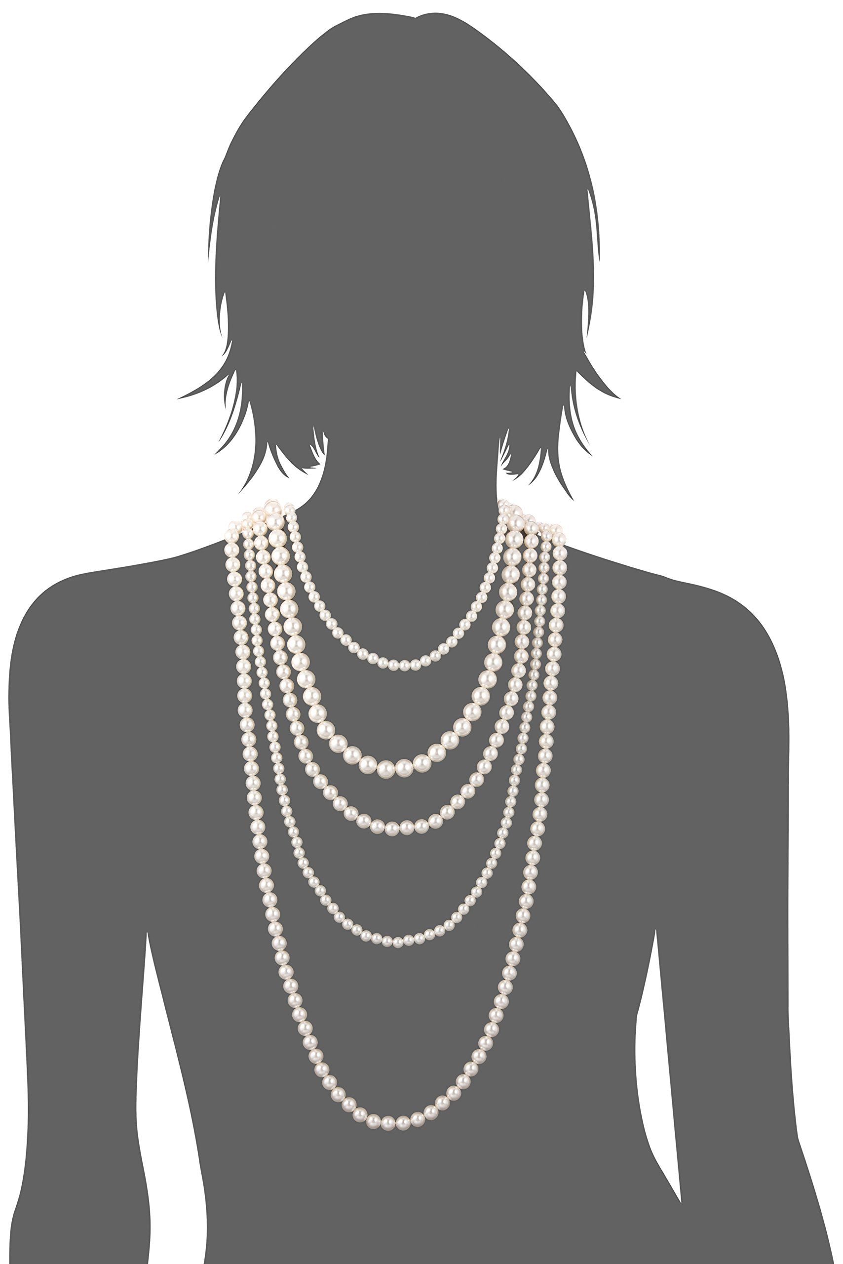 Gold-Tone Cream Color Pearl Multi-Strand Necklace, 34''+2'' by Amazon Collection (Image #2)
