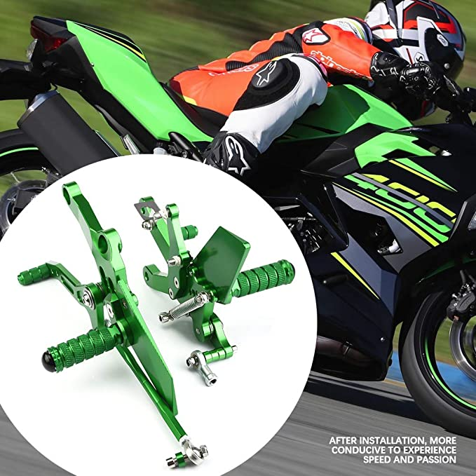 Reposapi/és para motocicleta Negro aleaci/ón de aluminio para motocicleta Reposapi/és ajustable para reposapi/és ajustable Super Cool Cool para Ninja 400 2018