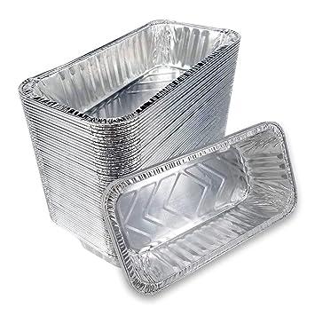 50pcs desechables bandejas de aluminio recipientes de aluminio rectangular 220 x 110 x 55 mm para