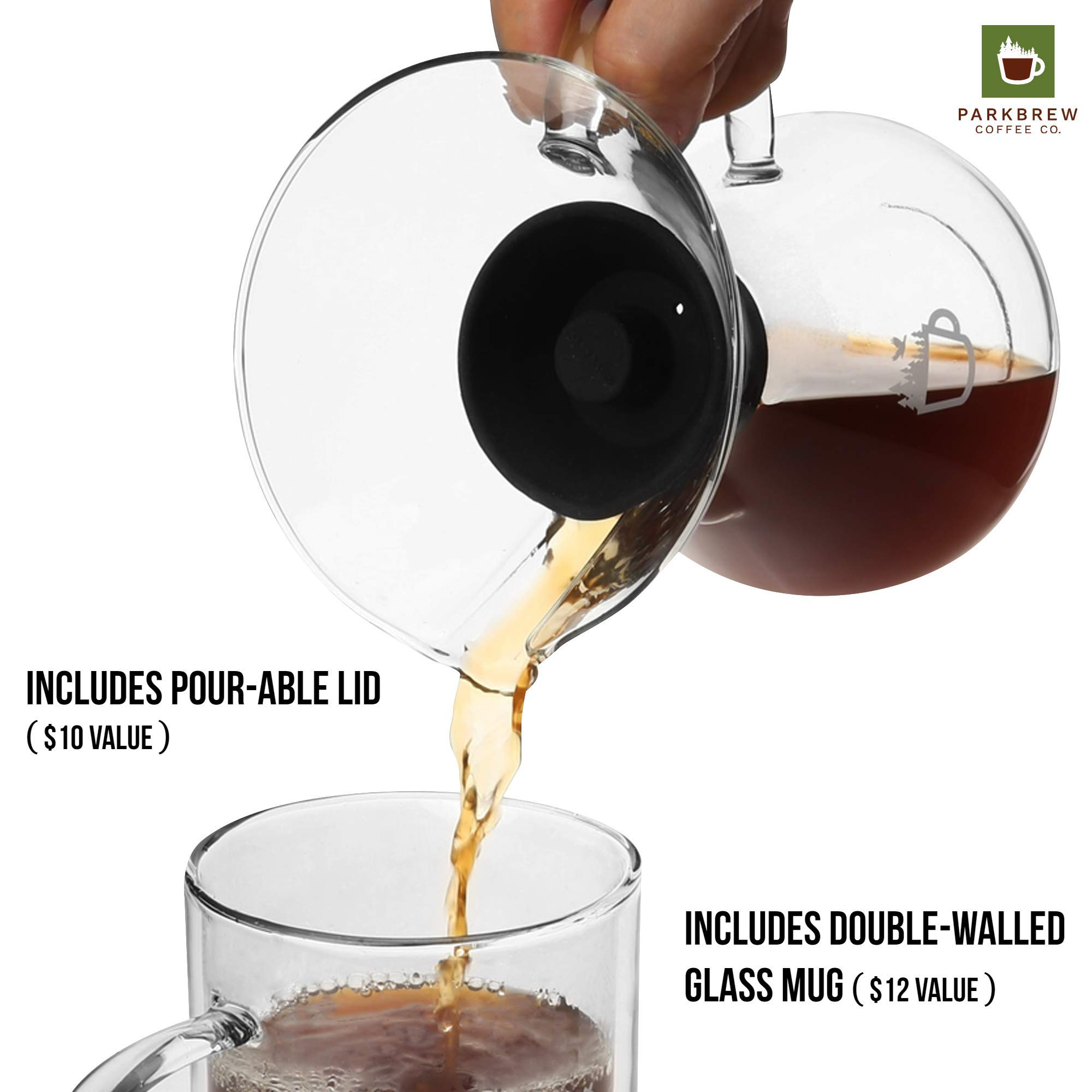 ParkBrew Pour Over Coffee Maker – kit includes coffee carafe (up to 27 fl. oz.), reusable coffee filter or coffee dripper, carafe lid, and double wall glass coffee mug by ParkBrew Coffee Co. (Image #7)