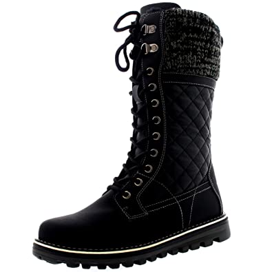 Polar Womens Winter Thermal Snow Outdoor Warm Mid Calf  Waterproof Durable Boot Black Leather US9EU40 YC0379  Snow Boots