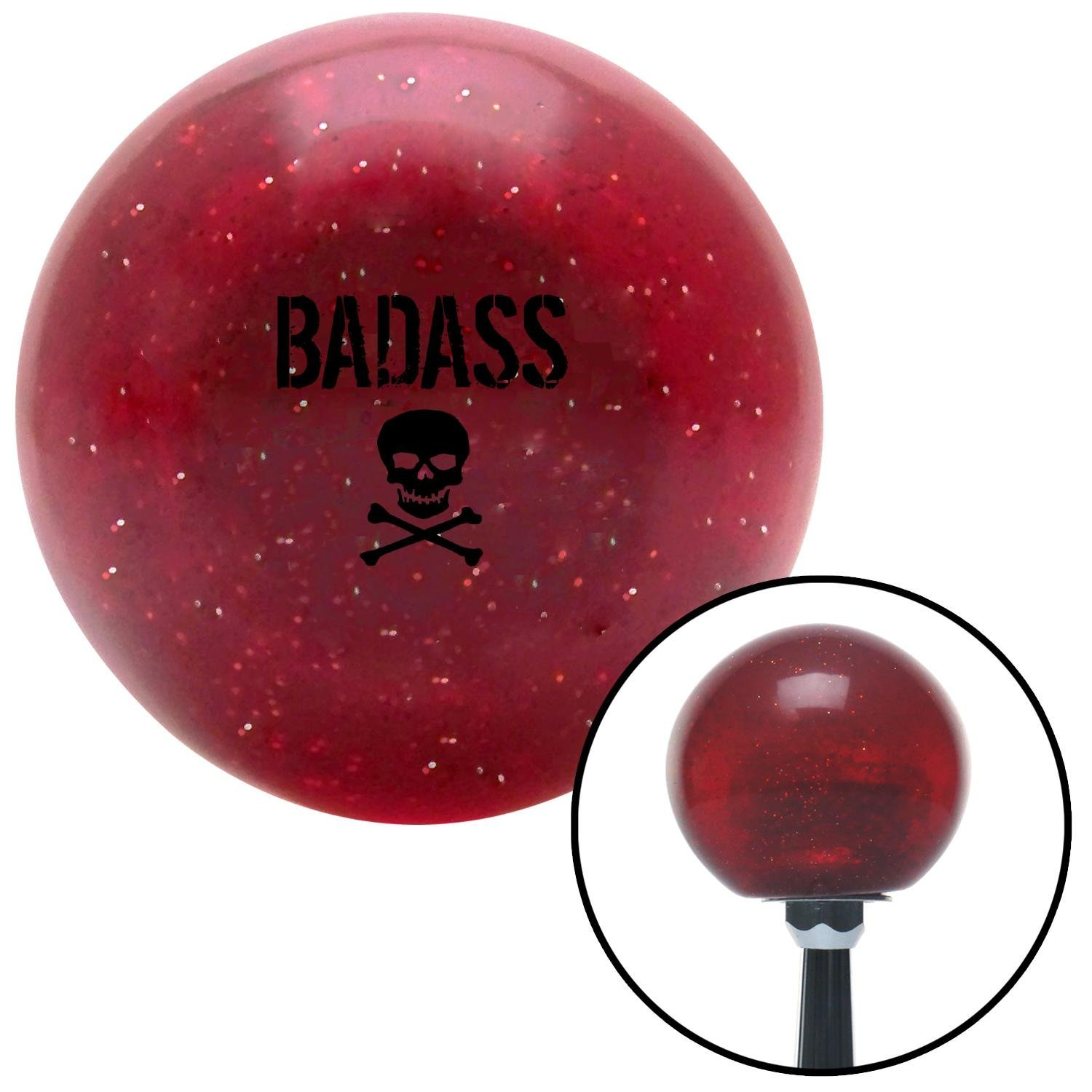 American Shifter 282876 Shift Knob Black Bad Ass Skull Red Metal Flake with M16 x 1.5 Insert