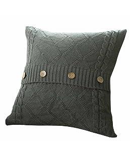 Comfortable Soft Knitting Fashion Throw Pillow Case Button Cafe Sofa Cushion Cover Throw Pillow Cover Square Home Decoration 45cmx45cm(Dark Gray)