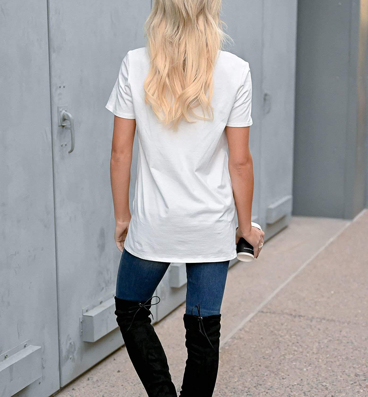 LACOZY Womens Leopard Print Tops Lips Print Short Sleeve Plain Color Hole T-Shirt Tuinc Tops Blouse White Medium