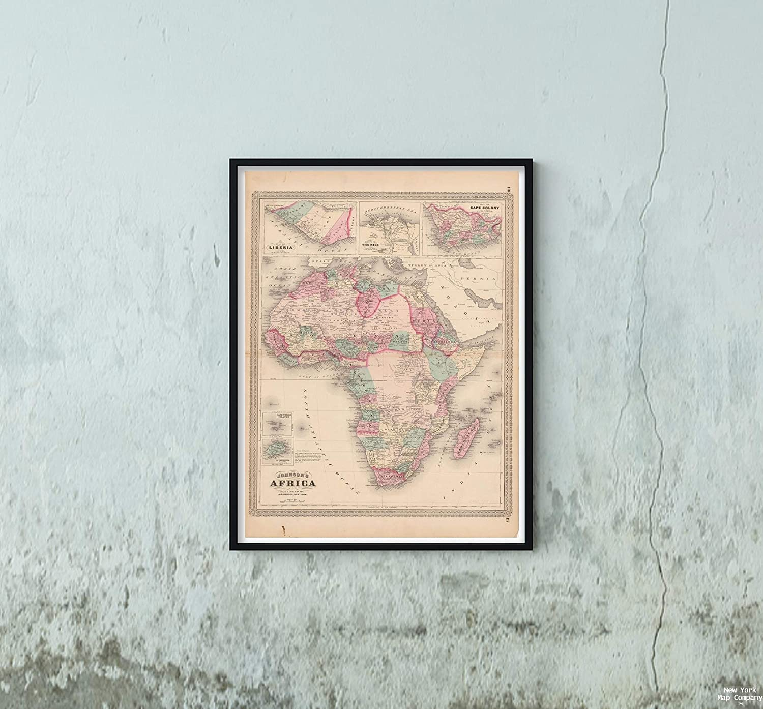 Map Family Atlas of The World, Africa 1873 Continent Historic Antique Vintage Reprint Size: 18x24 Ready to Frame