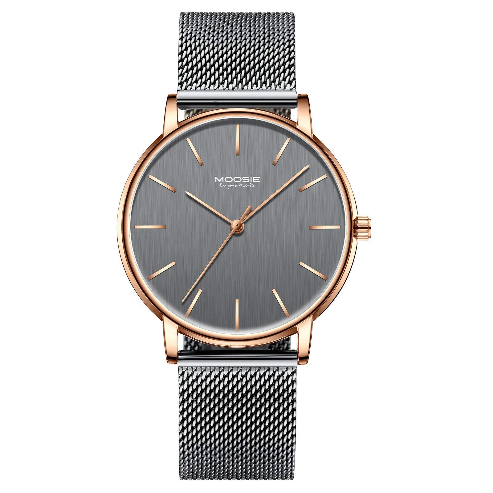 腕時計、メンズ腕時計 シンプル ビジネス ファッション 超薄型 軽量 ダークブルー グレー ローズゴールド 防水 ミラノメッシュベルト腕時計 アナログ クォーツ時計 ミニマリスト