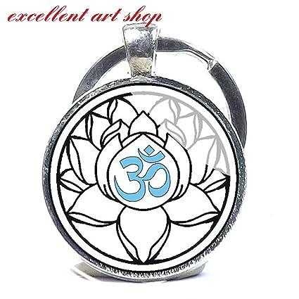 Amazon om keychain yoga key chain white lotus flower blossom om keychain yoga key chain white lotus flower blossom om symbol zen mightylinksfo