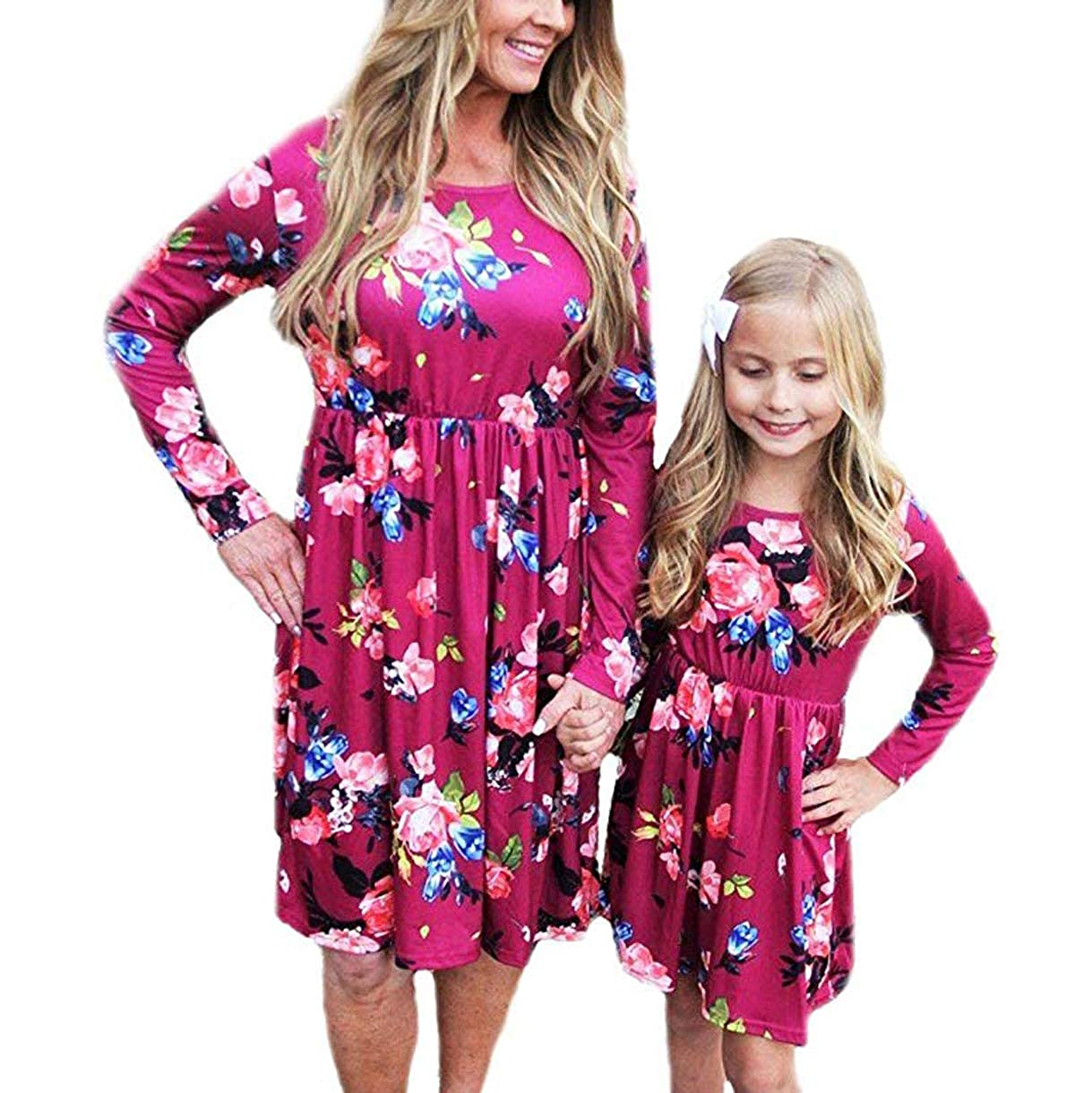 EYIIYE Mother and Daughter Long Sleeve Floral Midi Dress Spring Parent-Child Matching Dresses