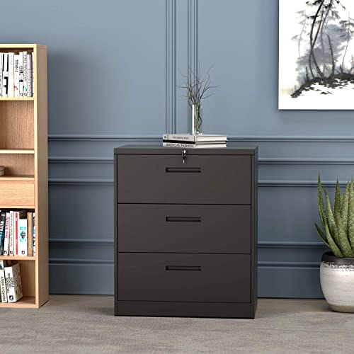 YSKWA Lateral File Cabinet Lockable Heavy Duty Metal 3 Drawer File Cabinet