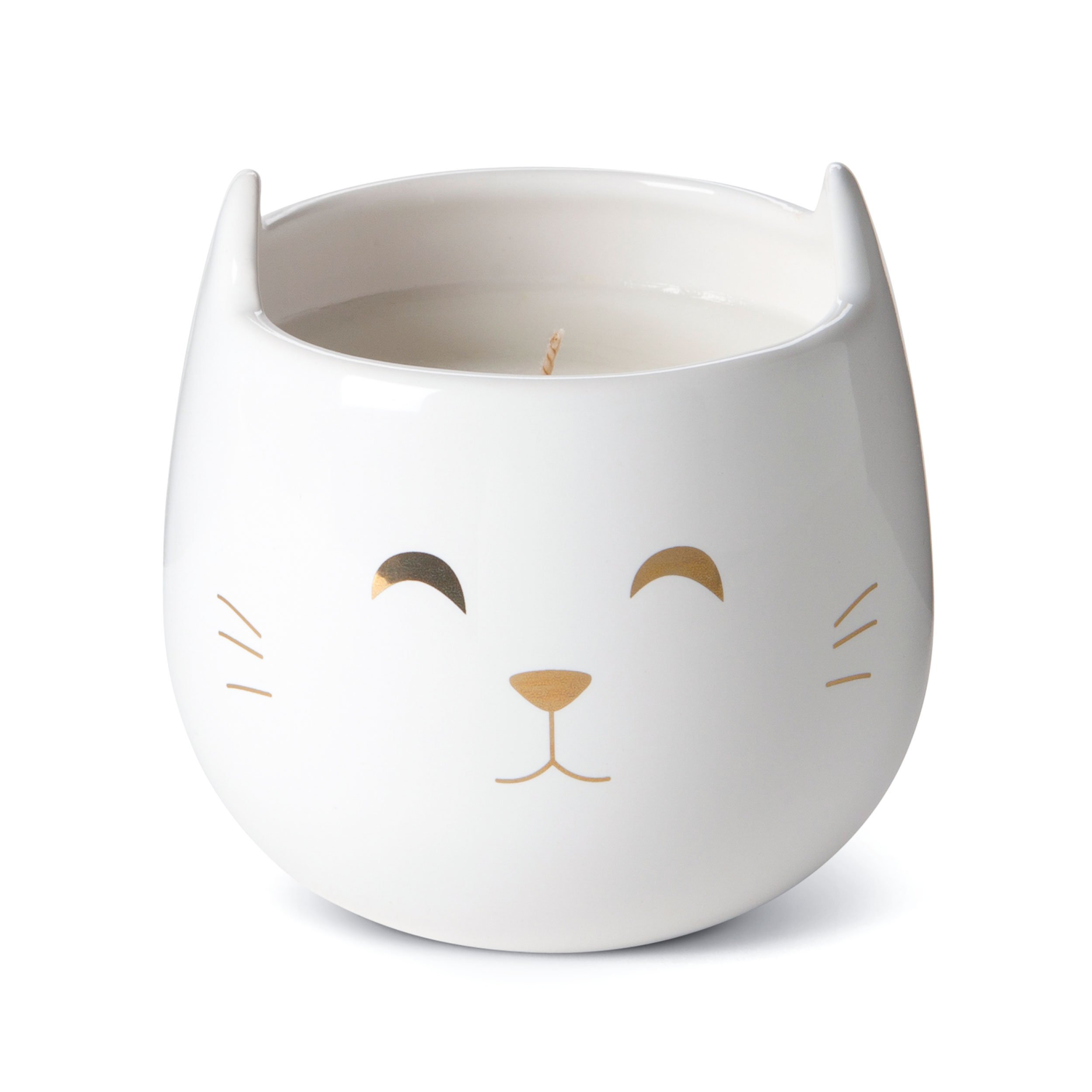Tri-coastal Design Small Cute Scented Wax Candles Ceramic Cat Shaped Candle for Aromatherapy, Stress Relief and Relaxation - Calming Vanilla Caramel Aroma Scented Luxury Candle - 12 Oz