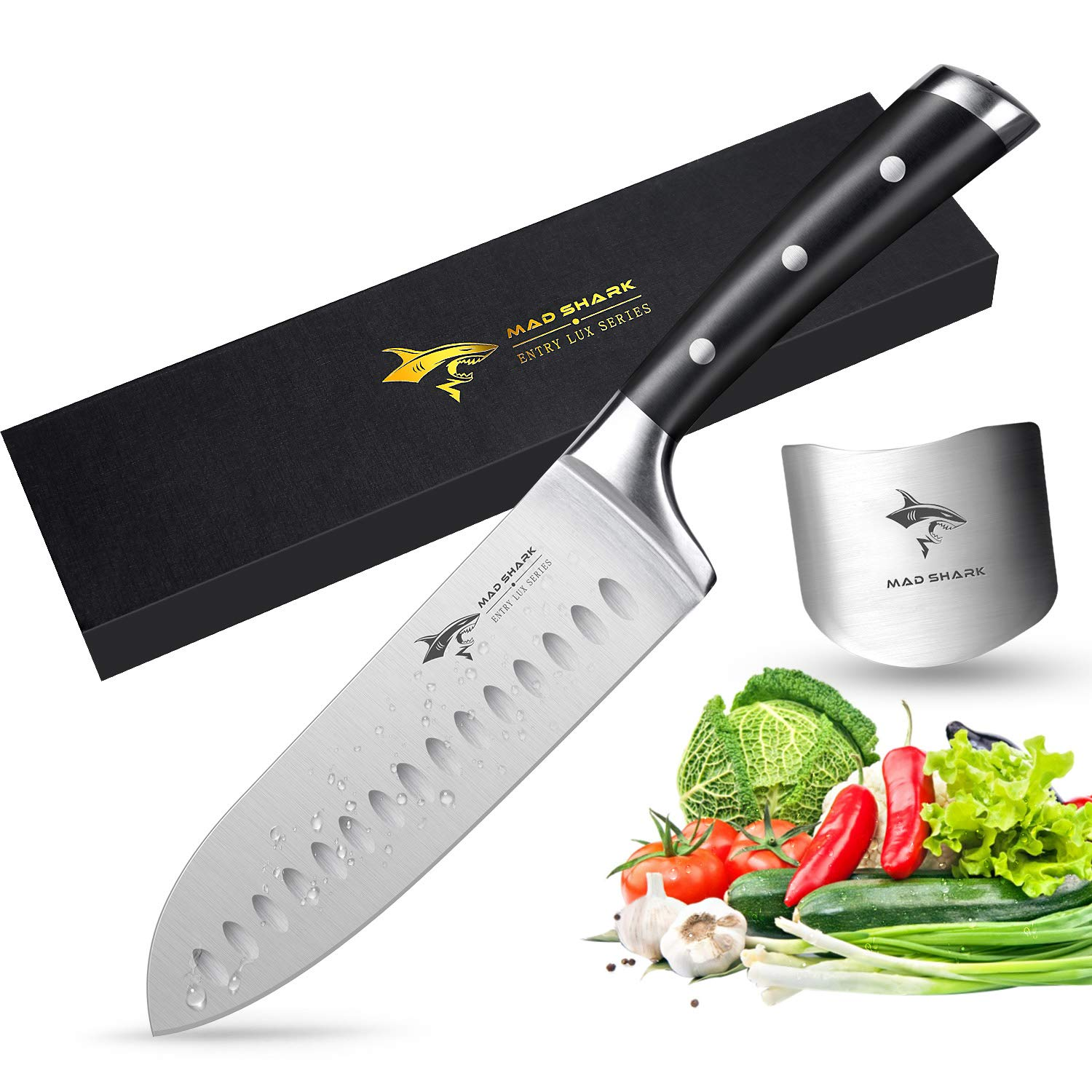 Santoku Knife - MAD SHARK Pro Kitchen Knives 7 Inch Chef's Knife, Best Quality German High Carbon Stainless Steel Knife with Ergonomic Handle, Ultra Sharp, Best Choice for Home Kitchen and Restaurant by MAD SHARK