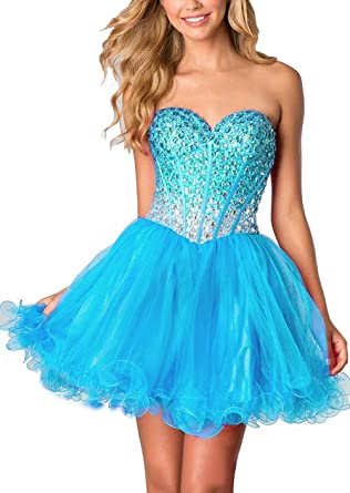 Victoria Prom Womens Sweetheart Homecoming Dresses Tulle Prom Dresses Blue us2