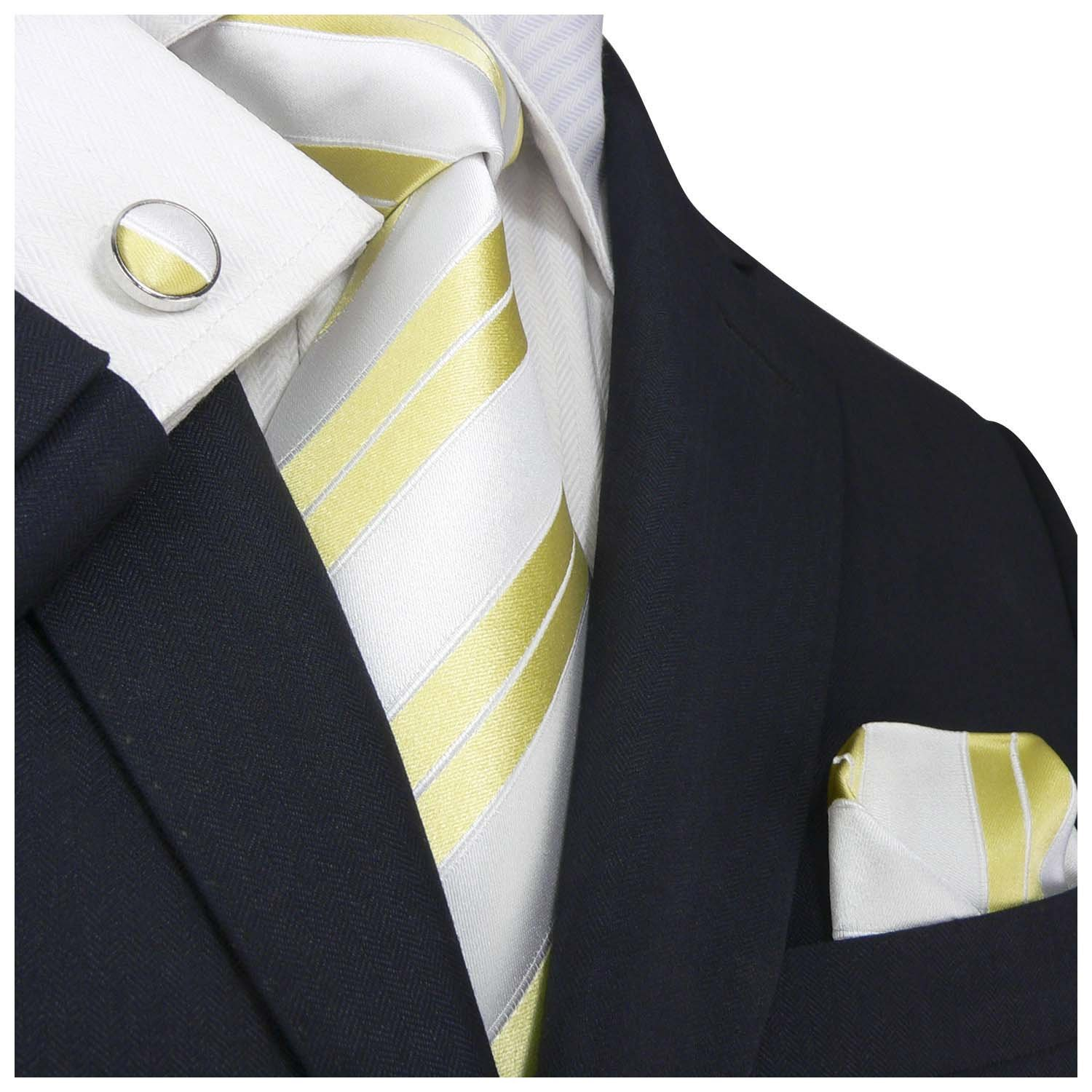 Landisun 44C Bright Blue Green Stripes Mens Silk Tie Set: Tie+Hanky+Cufflinks