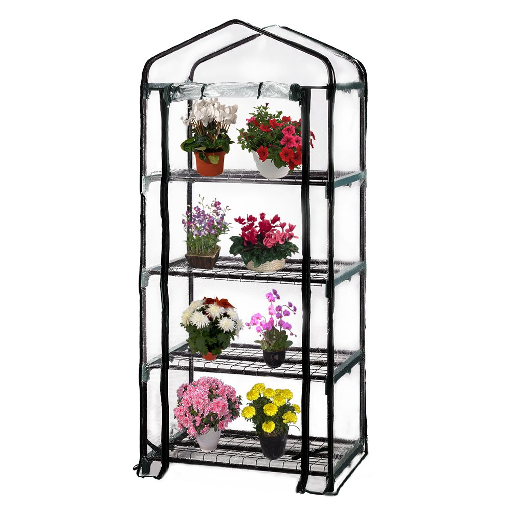 Seven colors house 4-Tier Portable Transparent Greenhouse, for Indoor & Outdoor Gardening 27'' Long x 19'' Wide x 63'' High