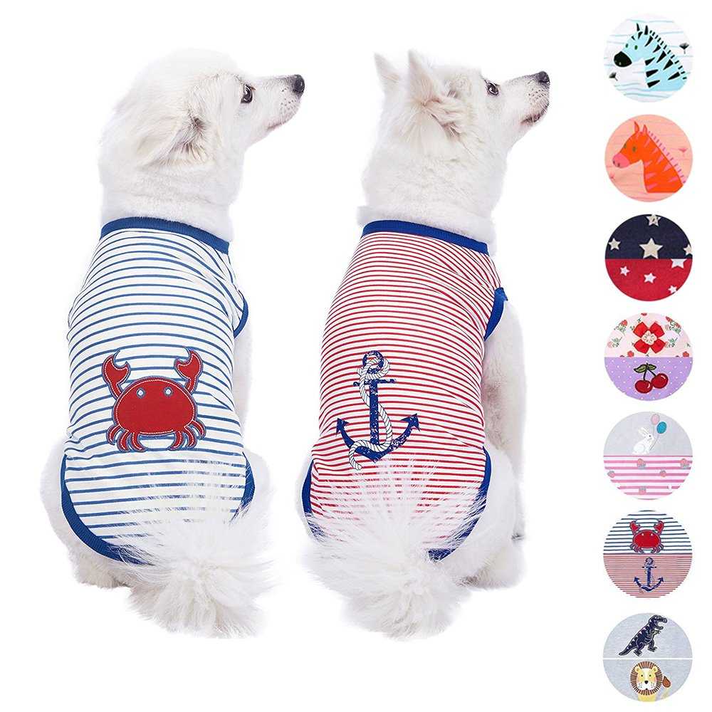 Blueberry Pet Pack of 2 Soft & Comfy Summer Sunshine Sea Lover Cotton Blend Dog T Shirts Tank Top, Back Length 12'', Clothes for Dogs