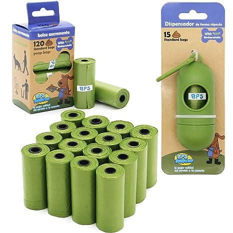 BPS 240/255 Bolsas de Caca Biodegradables para Perro con Dispensador Bolsas para excrementos de Perro Mascotas Animales Domésticos (255 Bolsas) ...