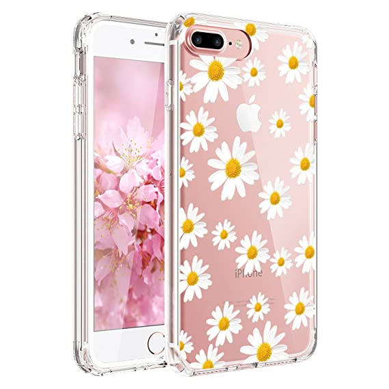 best cheap aaf6a 5d687 JIAXIUFEN Compatible with iPhone 7 Plus iPhone 8 Plus Case Cute White  Little Daisies Clear Slim Shockproof Flower Floral Design Soft Flexible TPU  ...