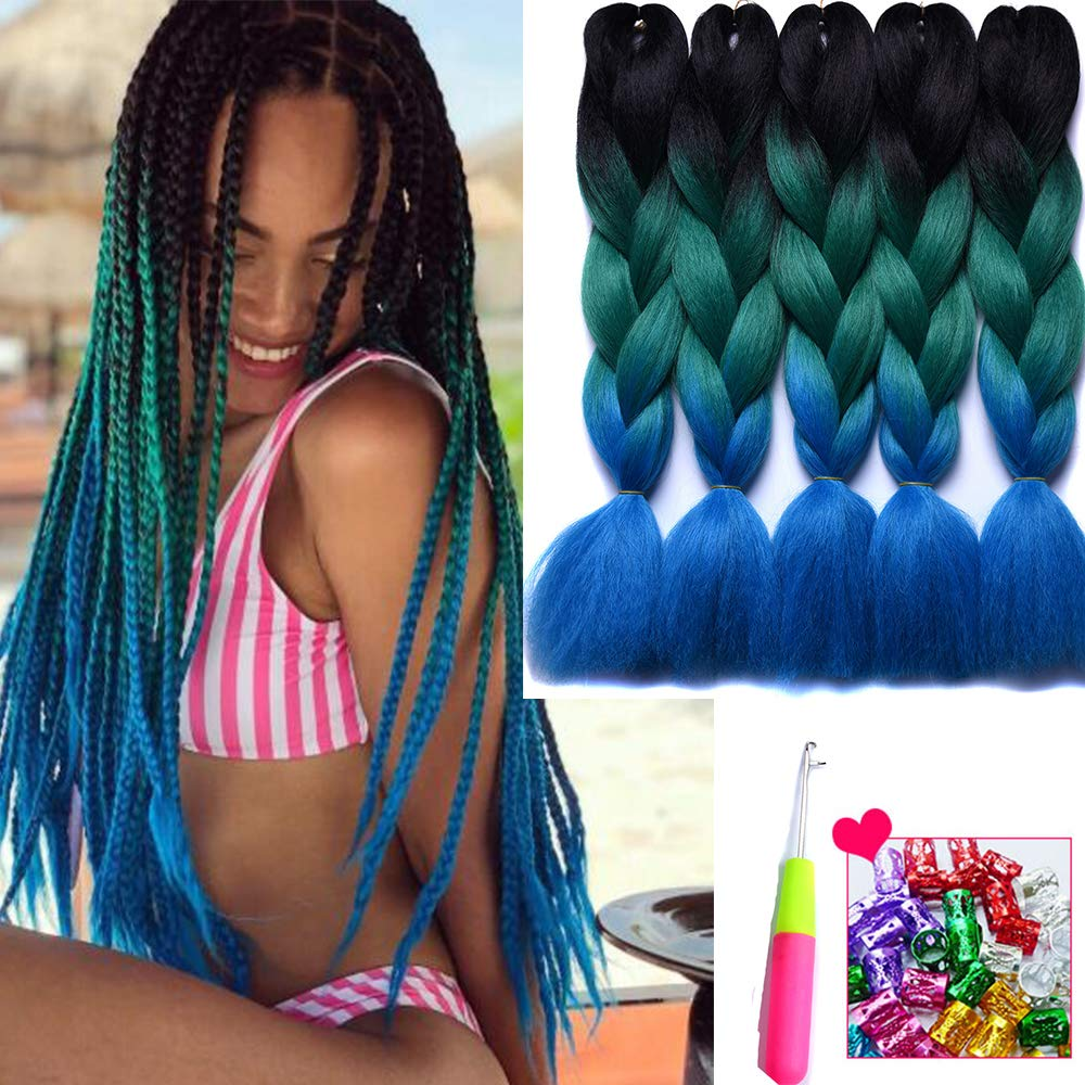 Amazon Com 5 Packs Ombre Braiding Hair Extensions Three Tone Colored Jumbo Braids Bulk Hair Black Green Blue Purple Pink Black Green Blue Beauty