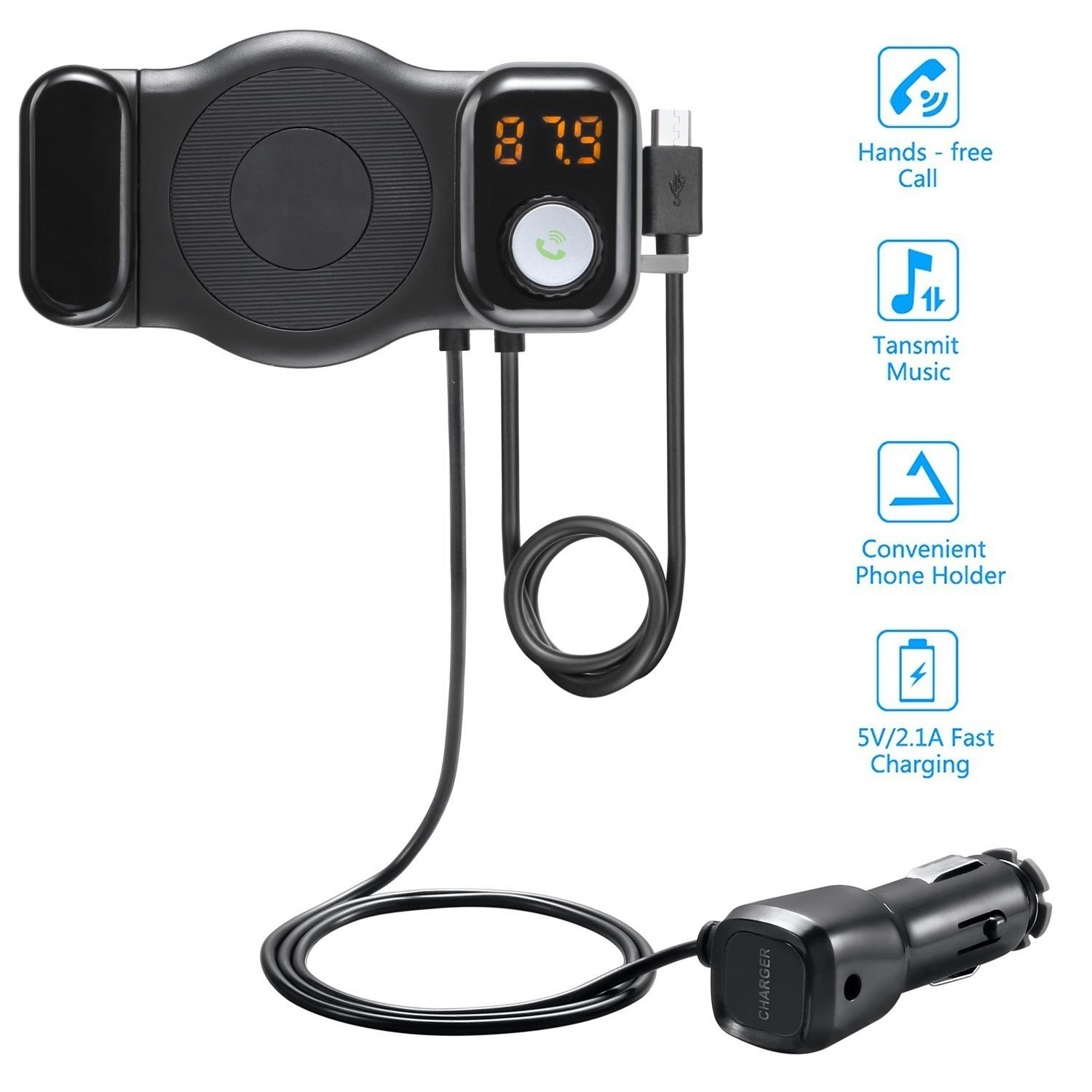 New Bluetooth FM Transmitter, Showerstar123 Wireless Car Radio FM Transmitter Radio Adapter Car Phone Mount USB Car Adapter Handsfree Car Kit - Black