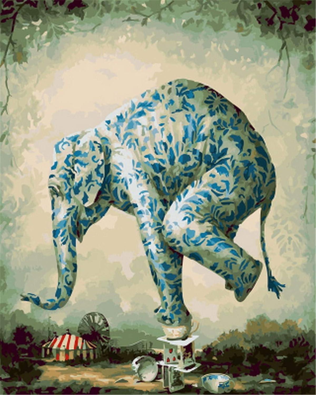 Paint By Number Kit, Diy Diy Kit, Pintura Al Óleo Dibujo Lienzo De Elefante Con Pinceles Decoración Decoraciones Regalos - 16X20 Pulgadas Sin Marco 1f2c98