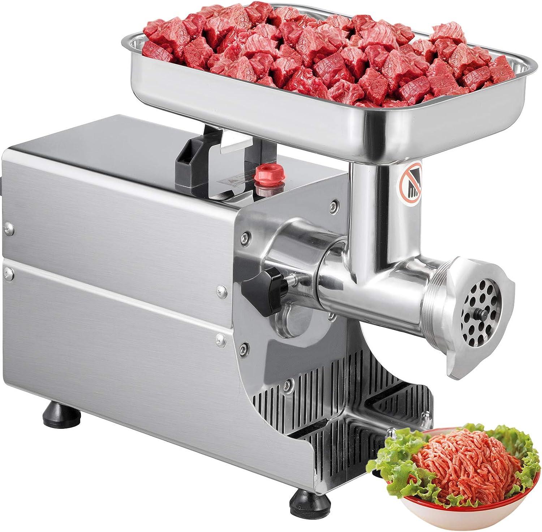 BuoQua Maquina de Picar Carne Eléctrica de Acero Inoxidable 304, Picadora de Carne con Motor de 370 Vatios, Picadora de Carne con Embutidora de Salchichas con 2 Arandelas (6 + 8 mm), 80 kg por Hora