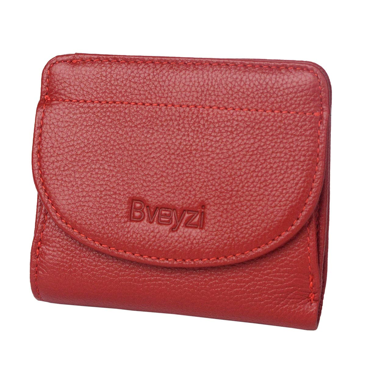 Small Leather Wallet for Women, RFID Blocking Mini Compact Bifold Purse With Coin Pocket (Wine Red)