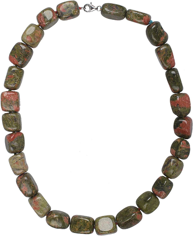 jewel24Plata de ley 925mujer Collar Piedras preciosas Cadena con coral Tapa 45cm