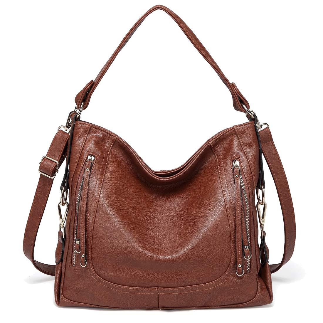 Kasqo Hobo Bag for Women Faux Leather Handbag Shoulder Bag Crossbody Bag with Detachable Shoulder Strap Brown