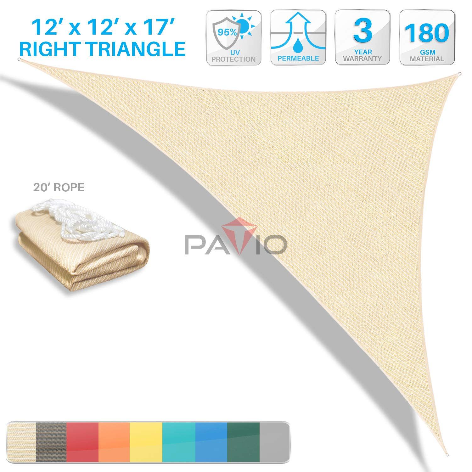 Patio Paradise 12' x 12' x 17' Beige Sun Shade Sail Right Triangle Canopy, Permeable UV Block Fabric Durable Outdoor, Customized Available by Patio