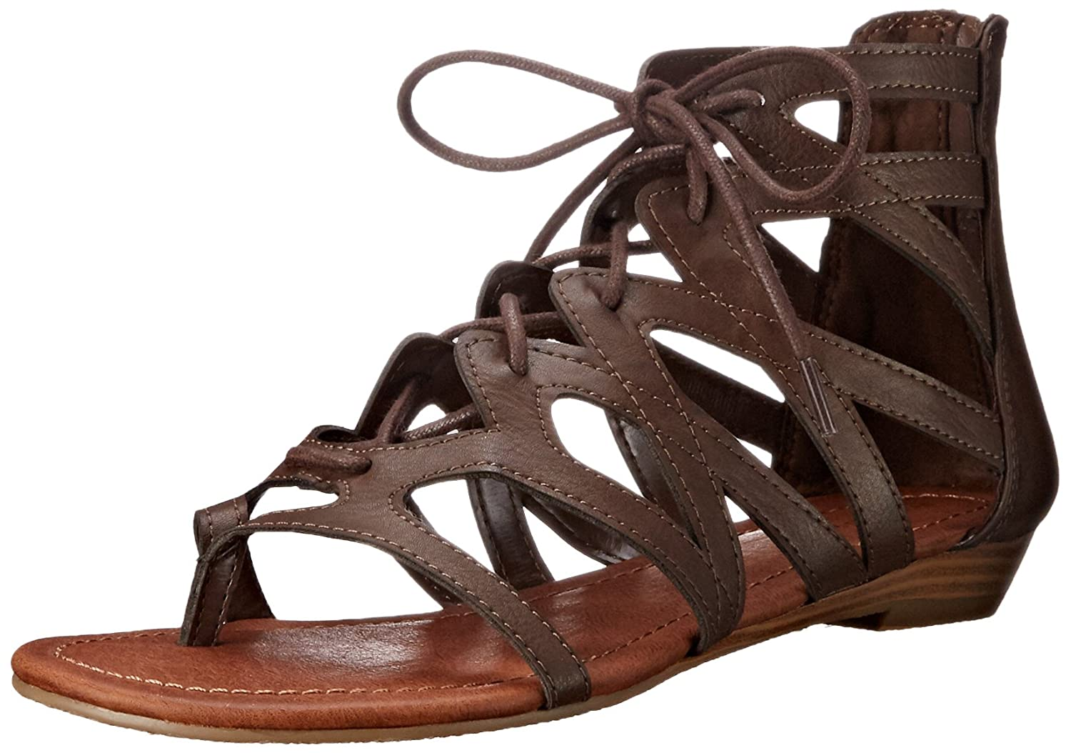 897e6885d Amazon.com | Rampage Women's Santini Cutout Lace-Up Open Toe Ankle Strap  Gladiator Sandal | Flats
