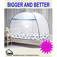 VERDIOZ Mosquito net (Double Bed | King Size) Foldable | Rectangular | 100% Ventilation | Visibility with Free Saviours