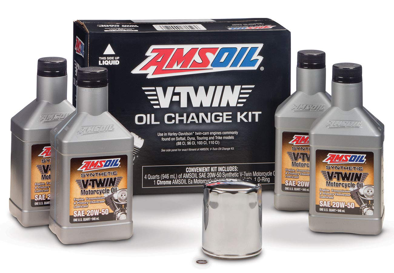 Full Synthetic Oil Change >> Amsoil Vtwin Oil Change Kit 20w50 Full Synthetic Motorcycle Oil 4qts Filter