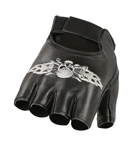 Milwaukee Leather Men/'s Fingerless Gloves With Skull /& Bones Embroidery **SH353