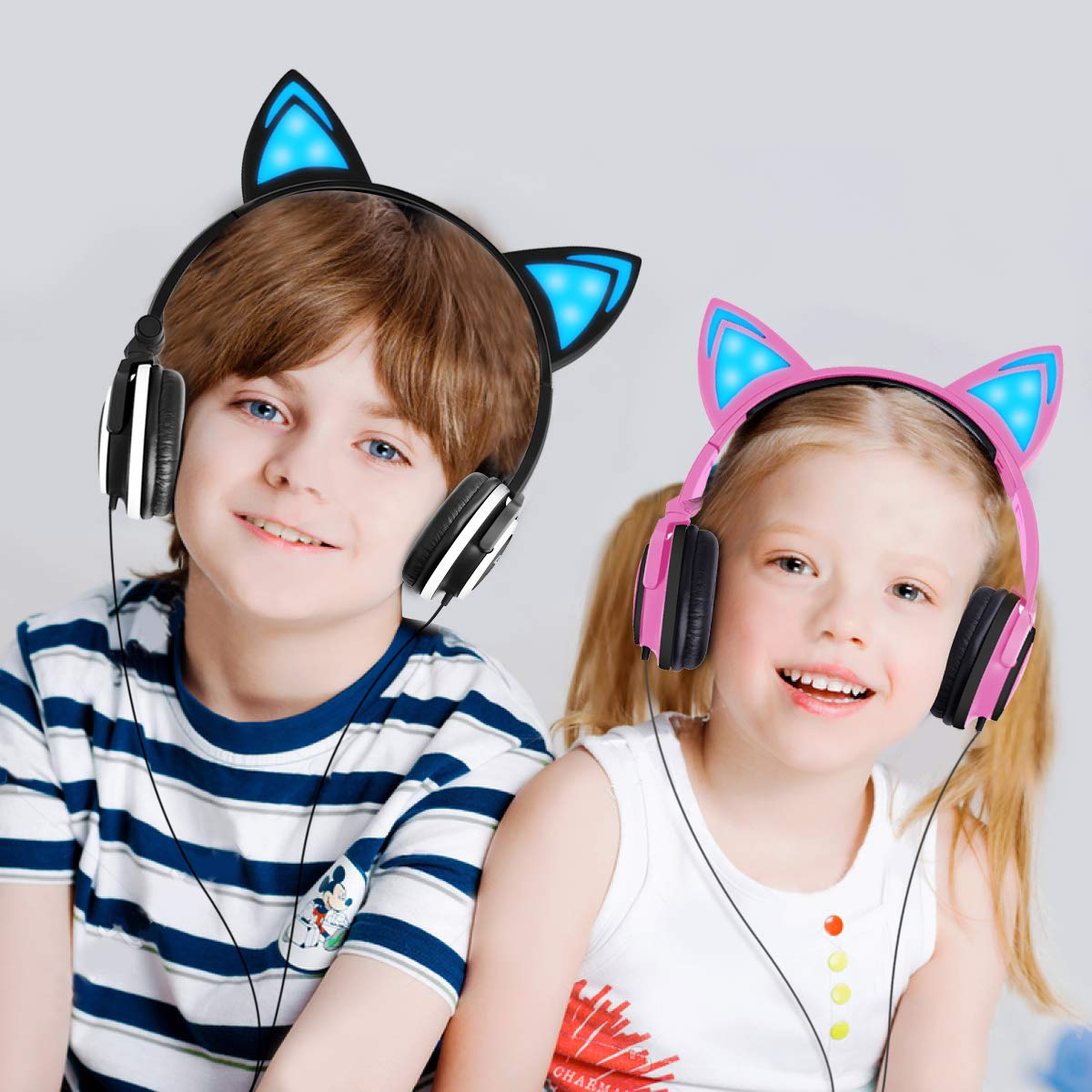 Cat Ear Headphone,LOBKIN Foldable Wired Over Ear Kids Headphone with Glowing Light for Girls Children Cosplay Fans,Compatible for iPhone,Android Phone (Pink)