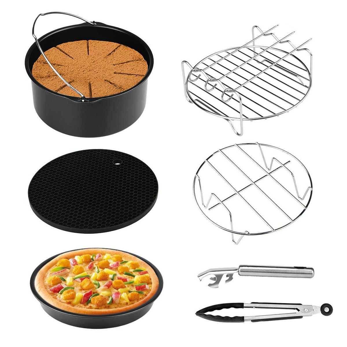 Air Fryer Accessories for Gowise Phillips and Cozyna, 7 Pcs with Cake Barrel/Pizza Pan/Silicone Mat/Metal Holder/Skewer Rack/Kitchen Tong/Bowl Clip, Fit all 3.7QT-5.3QT-5.8QT