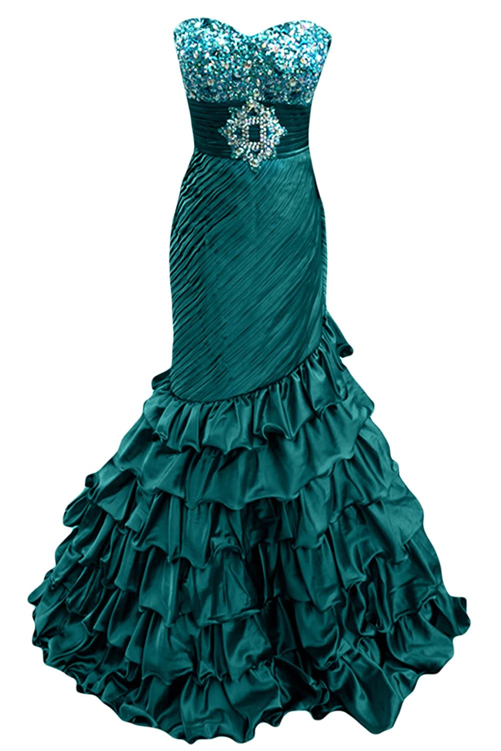 Sunvary Retro Evening Dress Sweetheart Mermaid Prom Gown Long with Sequins
