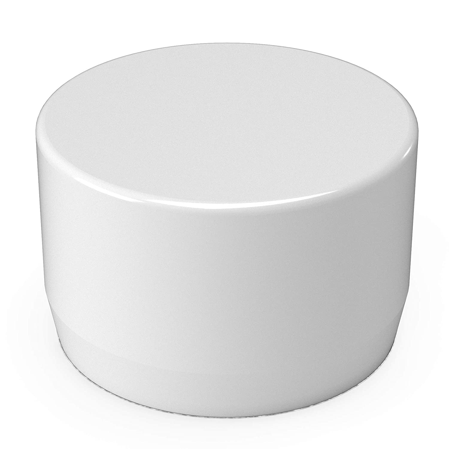 "FORMUFIT F002EEC-WH-10 PVC External End Cap, Furniture Grade, 2"" Size, White (Pack of 10)"