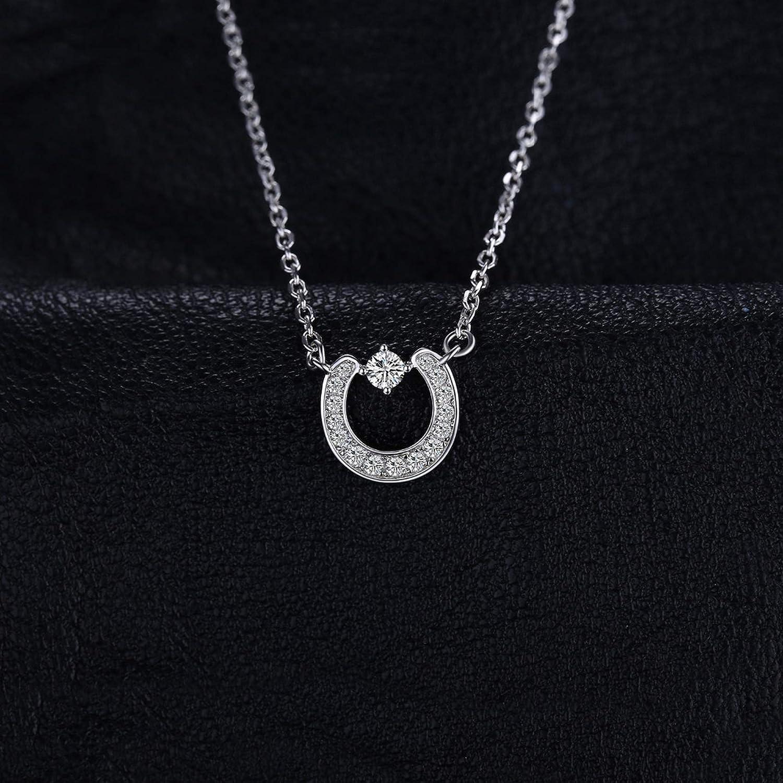 MMC Womens Fashion 0.3ct Cubic Zirconia Chain Silver Pendants Necklaces
