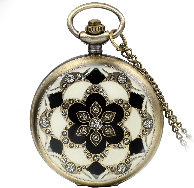 Avaner Reloj De Bolsillo Vintage Retro De Flores, Reloj Mosaico con Cadena Larga De 81cm, Cuarzo Reloj Bronce para Mujer