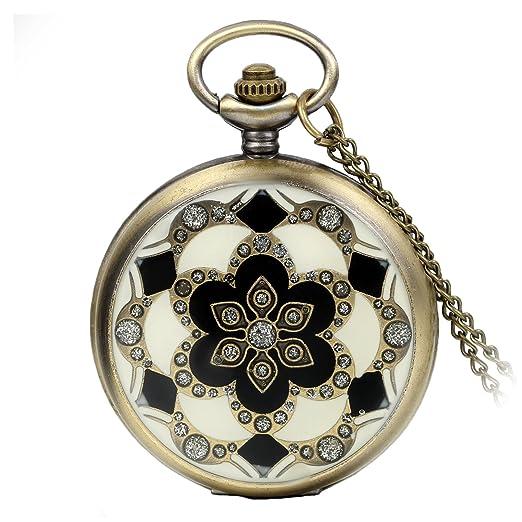 Avaner Reloj De Bolsillo Vintage Retro De Flores, Reloj Mosaico con Cadena Larga De 81cm, Cuarzo Reloj Bronce De Números Arábigos para Mujer: Amazon.es: ...