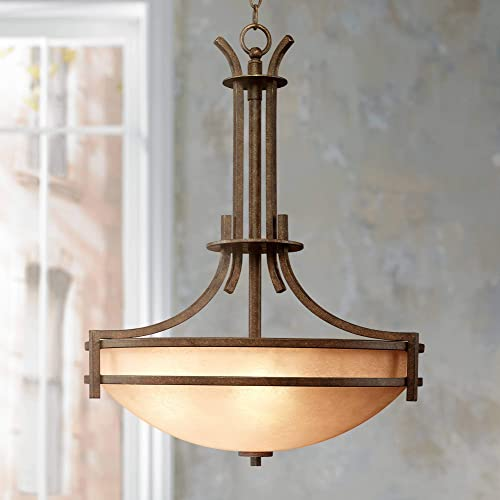 Oak Valley Rustic Bronze Pendant Chandelier 21 Wide Farmhouse Cream Scavo Glass Bowl 5-Light Fixture for Dining Room House Foyer Kitchen Island Entryway Bedroom Living Room – Franklin Iron Works