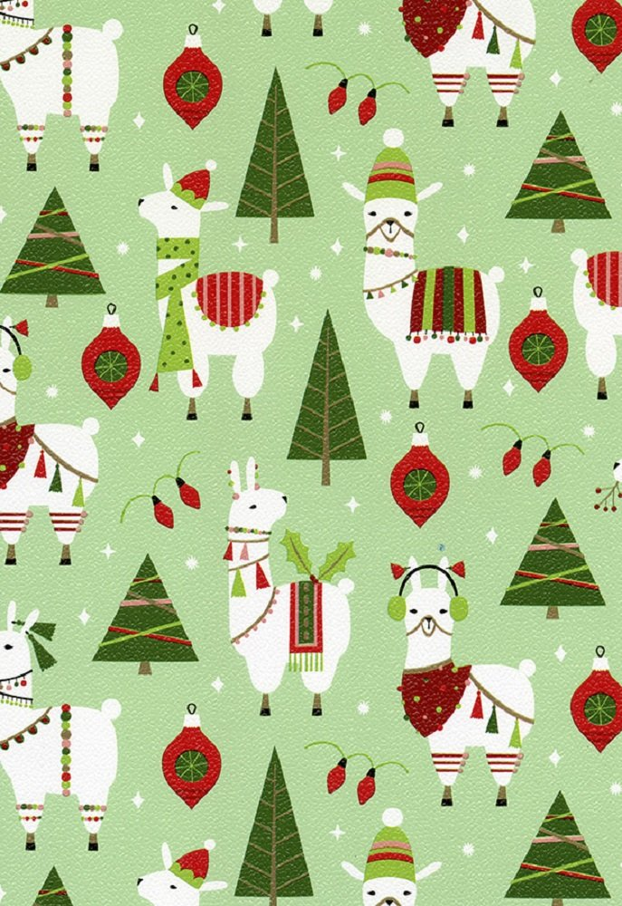 Dolly Llama Christmas Holiday Gift Wrap Rolled - 24'' x 15'
