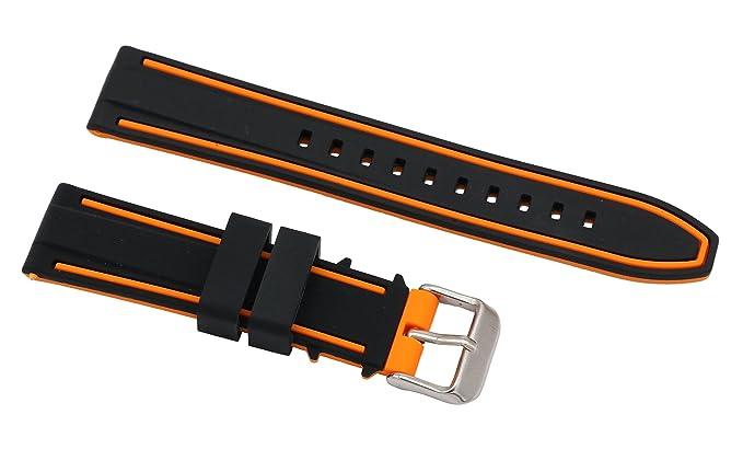 20mm correas de silicona superiores para el buceo relojes pulseras de reloj de goma en dos tonos de negro y naranja: Amazon.es: Relojes