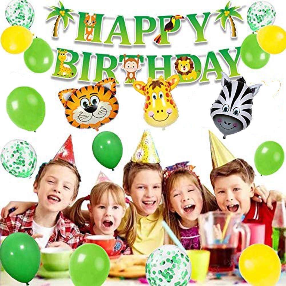 MAKFORT Kindergeburtstag Deko Dinosaurier Happy Birthday Girlande ...