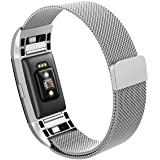 Fitbit Charge 2 Replacement Band,Hanlesi Stainless Steel Bracelet Fitness Wristband for Fitbit Charge 2 (No Tracker)- Silver