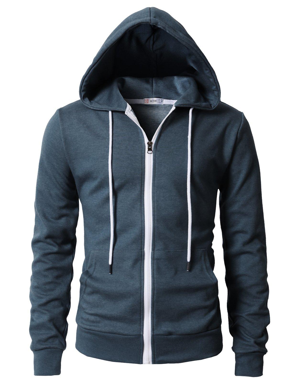 H2H Men's Casual Fit Long Sleeve Lightweight Zip up Pullover Hoodie Sweatshirt with Kanga Pocket DARKBLUE US L/Asia XL (KMOHOL0131)