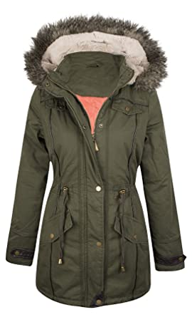 3e3a8e864107 New Womens Ladies Warm Faux Fur Hooded Winter Parka Jacket Zip Up ...