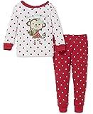 Little Me Baby Girls' Holiday 2 Piece Pajama, Happy Monkey