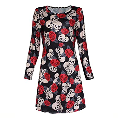 Han Shi Swing Dresses, Fashion Women Halloween Flower Skull Print Long Sleeve Party Skirt (
