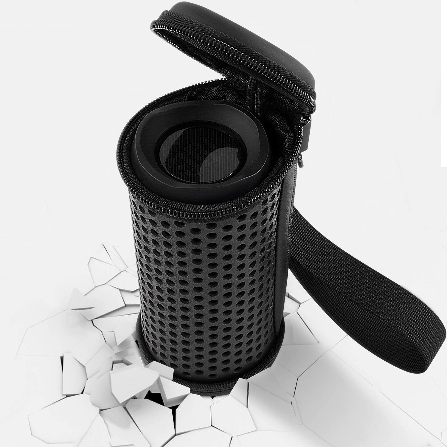 Travel Carrying PU Leather Cover Storage Bag with Hand Strap Protective Hard Case for JBL Flip 4 Waterproof Portable Bluetooth Speaker